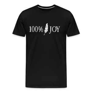 Black T Shirt with White 100% Joy Logo - Men's Premium T-Shirt