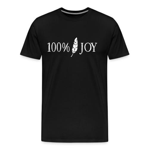 Black T Shirt with White 100% Joy Logo - Men's Premium T-Shirt