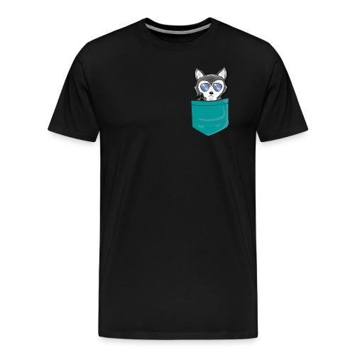HuskenRaider husky teal pocket - Men's Premium T-Shirt