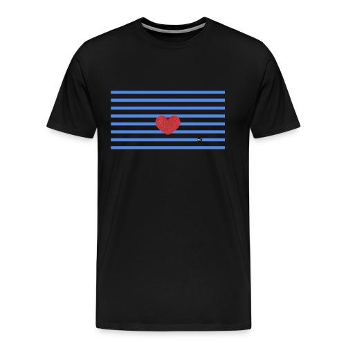 Heart and Blue Stripes - Men's Premium T-Shirt