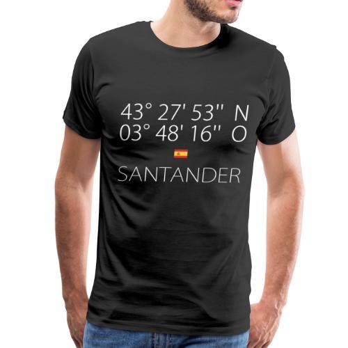 Santander Latitude & Longitude   Flag of Spain - Men's Premium T-Shirt
