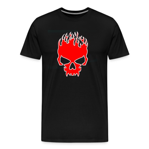 Flaming Red Skull with Tribal Flames - Men's Premium T-Shirt