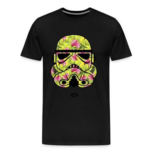 Trooper Mask Floral Green - Men's Premium T-Shirt