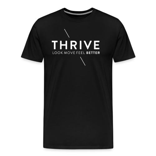 Thrive Logo with Tagline and Line White - Men's Premium T-Shirt