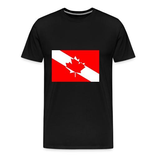 Canadian Diver Flag in Red & White - Men's Premium T-Shirt