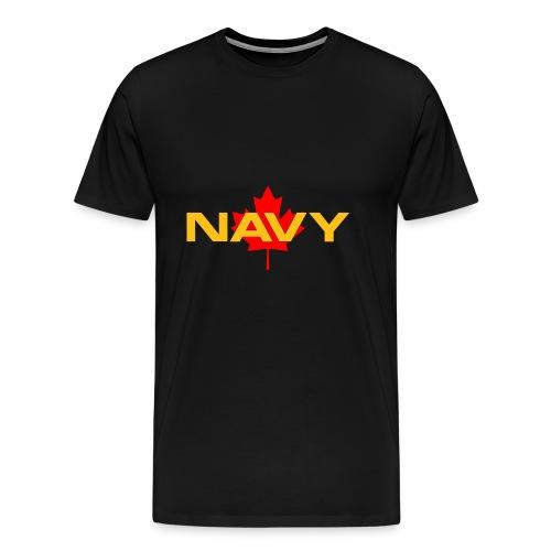 Navy Logo on Maple Leaf - Men's Premium T-Shirt