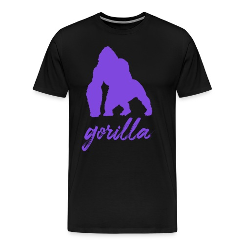 Gorilla Logo, Purple W/ Text - Men's Premium T-Shirt