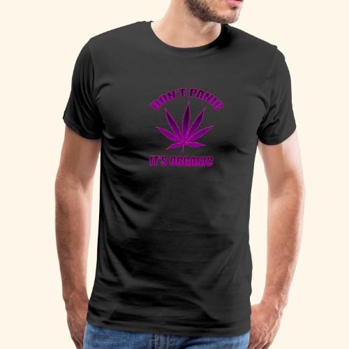 Don't panic it's Organic Cannabis Leaf Purple Logo - Men's Premium T-Shirt