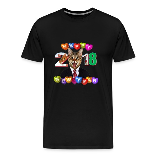 #wish Funny Cat Happy New Year t-shirt 2018 - Men's Premium T-Shirt