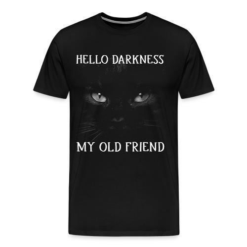 Hello Darkness My Old Friend Black Cat Halloween - Men's Premium T-Shirt