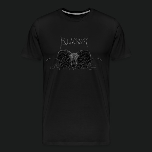 Skull and Roses With Blackest Logo - Men's Premium T-Shirt
