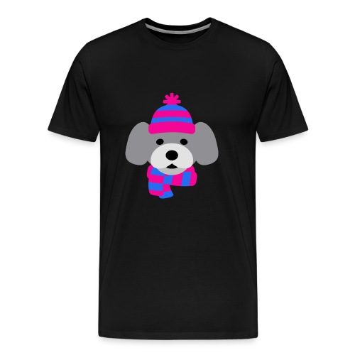 Cute Grey dog in pink and blue hat and scarf - Men's Premium T-Shirt