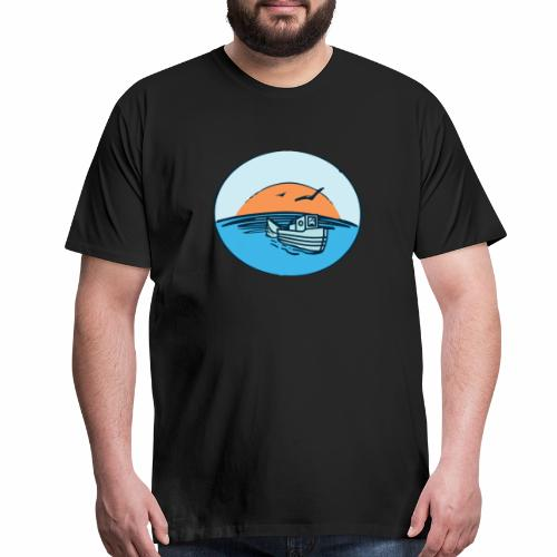 Fishing boat fish fisherman angler sailor - Men's Premium T-Shirt