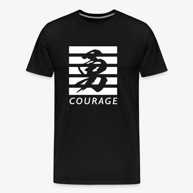 Linguistic Courage Streetwear Chinese Symbol T Shirt Mens