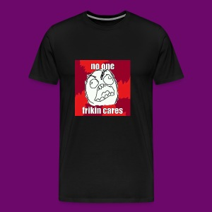 NO ONE CARES shirt with red and white in border. - Men's Premium T-Shirt