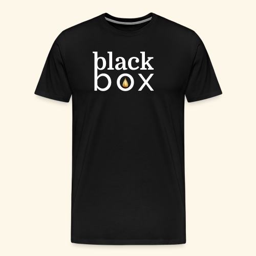 Black Box Logo Gold Drop White Text - Men's Premium T-Shirt