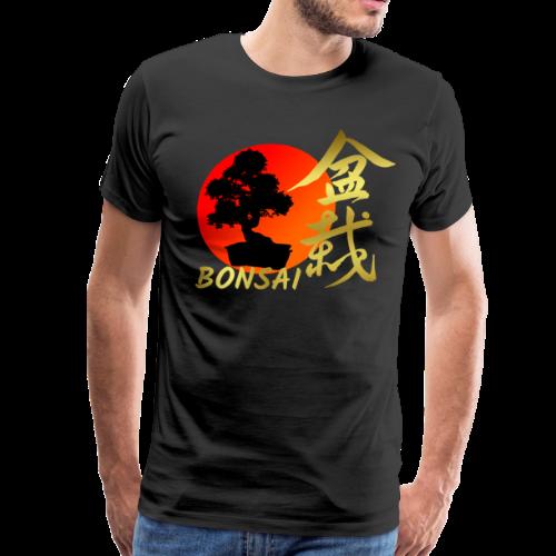 Bonsai Tree Japanese Red Rising Sun Shirt Gift - Men's Premium T-Shirt