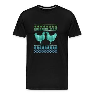 Chicken Mom Cross-Stitch Design - Men's Premium T-Shirt