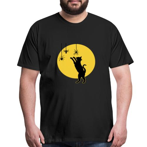 Full Moon with Black Cat and Spiders Halloween - Men's Premium T-Shirt