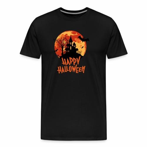 blood moon haunted house happy Halloween design - Men's Premium T-Shirt