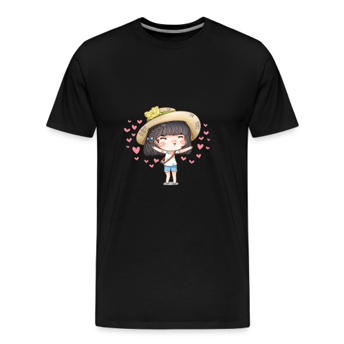 Cute happy girl with heart around - Men's Premium T-Shirt