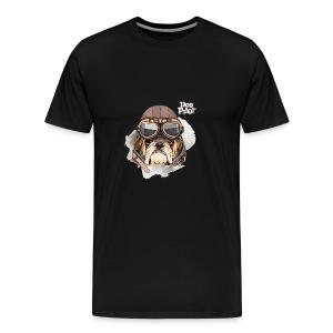 Portrait Bulldog Vintage Leather Aviator Helmet - Men's Premium T-Shirt