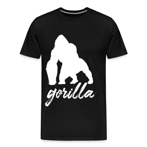 Gorilla Logo, White W/ Text - Men's Premium T-Shirt