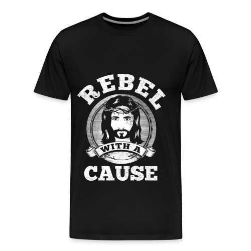 Rebel with a cause WHITE VINTAGE print - Men's Premium T-Shirt