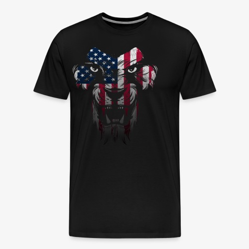 American Flag Lion Shirt - Men's Premium T-Shirt