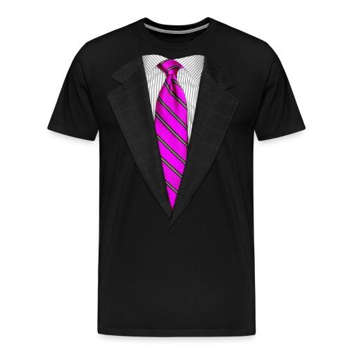 Pink Suit Up! Realistic Suit & Tie Casual Graphic - Men's Premium T-Shirt