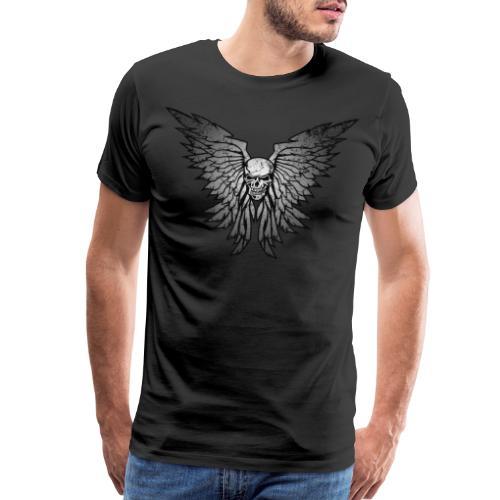 Classic Distressed Skull Wings Illustration - Men's Premium T-Shirt