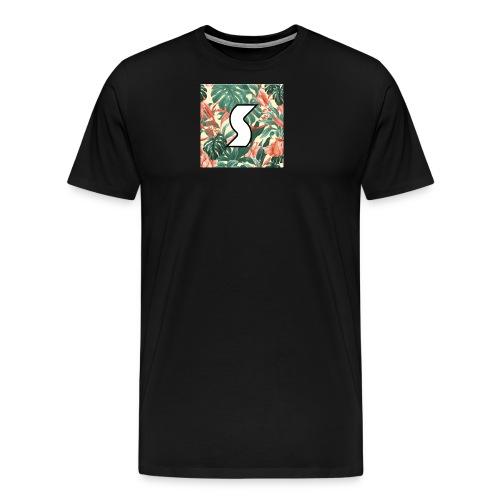 White Tropical Logo Design (Black) - Men's Premium T-Shirt