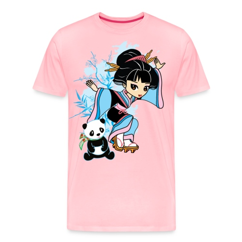 Cartoon Kawaii Geisha Panda Ladies T-shirt by - Men's Premium T-Shirt