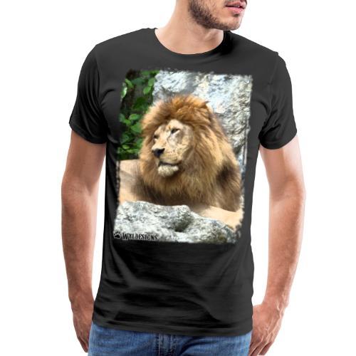 Lion On Rocks - Men's Premium T-Shirt