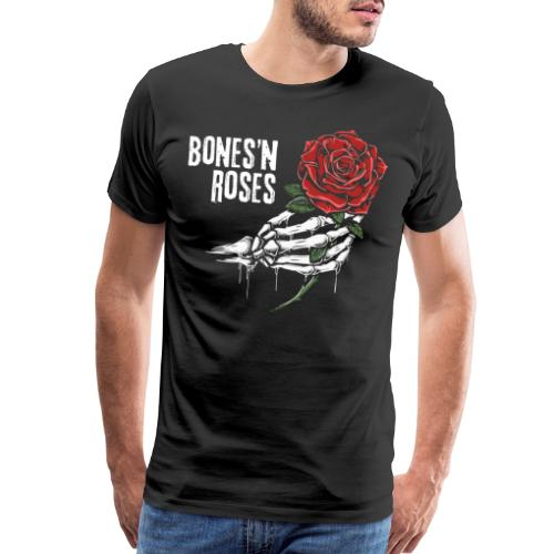 skull bones roses - Men's Premium T-Shirt