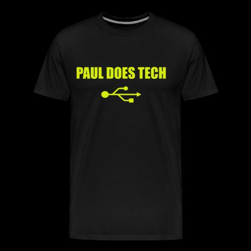 Paul Does Tech Yellow Logo With USB (MERCH) - Men's Premium T-Shirt