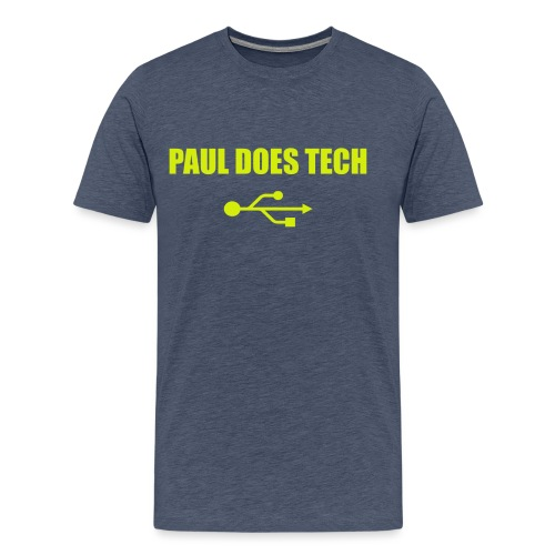 Paul Does Tech Yellow Logo With USB (MERCH) - Men's Premium T-Shirt