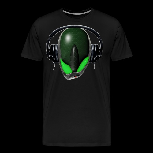 Green Reptoid Alien Pissed Off DJ in Headphones - Men's Premium T-Shirt