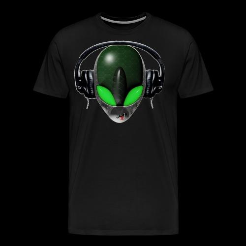 Reptoid Green Alien Face DJ Music Lover - Friendly - Men's Premium T-Shirt