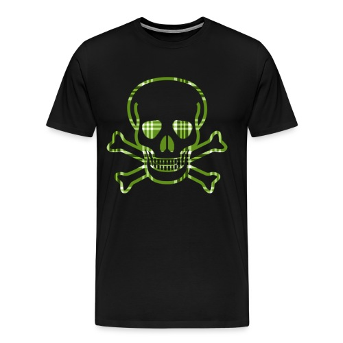 Skull & Cross Bones Green Plaid - Men's Premium T-Shirt