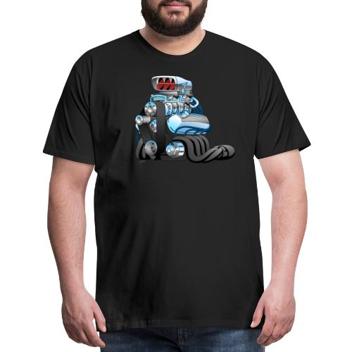 Hotrod Racing Car Engine Cartoon Illustration - Men's Premium T-Shirt