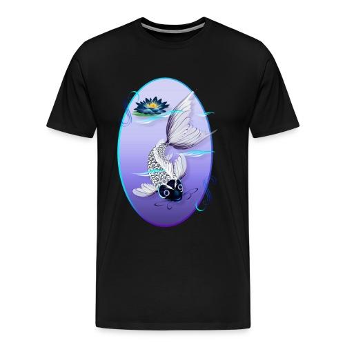 White Koi-Blue Lily Oval - Men's Premium T-Shirt