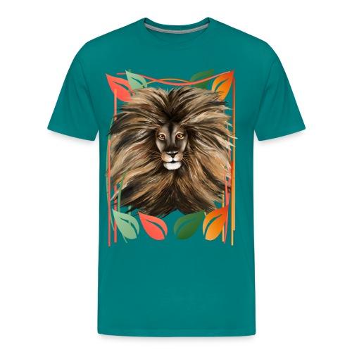 Big Cat and Colorful Jungle - Men's Premium T-Shirt