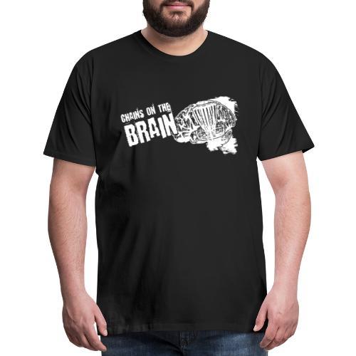 Chains on the Brain Disc Golf White Print - Men's Premium T-Shirt