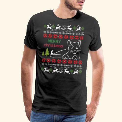 Ugly Christmes Sweater with cat Meowy - Men's Premium T-Shirt