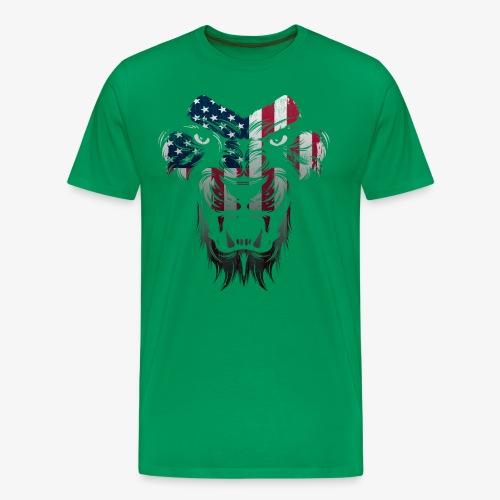 American Flag Lion Shirt - Men's Premium T-Shirt