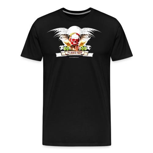 Planet Beer Skull & Keg Gothic 2 Tone - Men's Premium T-Shirt
