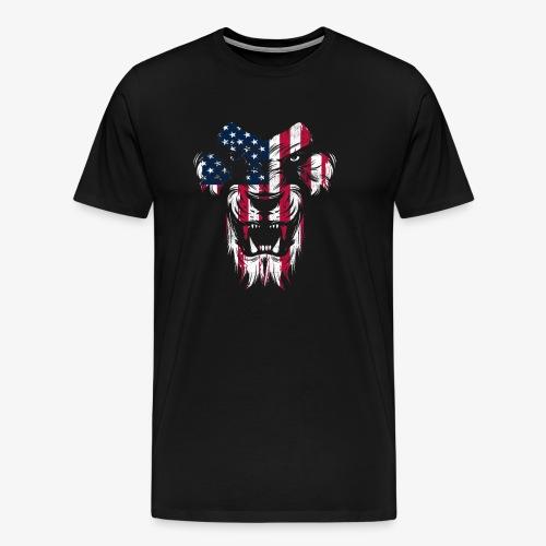 Lovely American Lion USA Flag Silhouette Portrait - Men's Premium T-Shirt