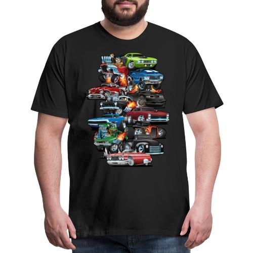 Car Madness! Muscle Cars and Hot Rods Cartoon - Men's Premium T-Shirt