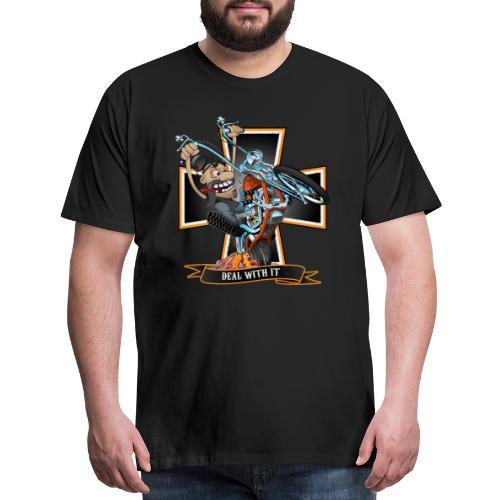 Deal with it - funny biker riding a chopper - Men's Premium T-Shirt